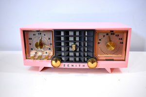 Fairlane Pink and Black Mid Century Vintage 1956 Zenith Z519V AM Vacuum Tube Clock Radio Works Great and Near Mint!