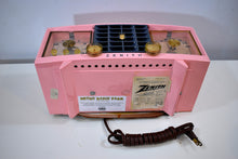 Load image into Gallery viewer, Fairlane Pink and Black Mid Century Vintage 1956 Zenith Z519V AM Vacuum Tube Clock Radio Works Great and Near Mint!
