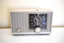 Load image into Gallery viewer, Aspen Gray 1964 Admiral Model YRC-517 Mid Century Vacuum Tube AM Clock Radio Sounds Great! Excellent Condition!