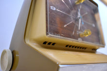 Load image into Gallery viewer, Autumn Gold Solid State 1968 Silvertone Model 8036 AM Clock Radio Alarm Mod 60's Neo Futurism At Its Finest