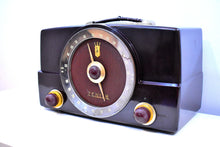 Load image into Gallery viewer, Chocolat Brown Mid Century 1955 Zenith H725 AM/FM Vacuum Tube Radio Loud As A Banshee!