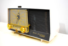 Load image into Gallery viewer, Charcoal and White 1959 RCA Victor Model 1-C-5JE Vacuum Tube AM Clock Radio Sounds Like A Dream!