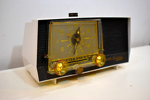 Charcoal and White 1959 RCA Victor Model 1-C-5JE Vacuum Tube AM Clock Radio Sounds Like A Dream!
