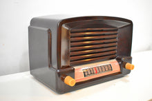 Load image into Gallery viewer, Marble Brown Bakelite 1948 General Electric Model 114  Vacuum Tube Radio Terrific Sounding!