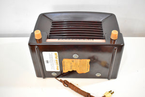 Marble Brown Bakelite 1948 General Electric Model 114  Vacuum Tube Radio Terrific Sounding!