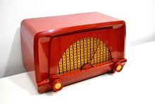 Load image into Gallery viewer, Toreador Red 1955 Truetone Model D2553-A AM Vacuum Tube Radio Rare and Beautiful!
