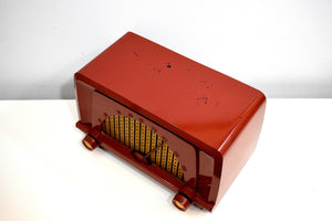 Toreador Red 1955 Truetone Model D2553-A AM Vacuum Tube Radio Rare and Beautiful!