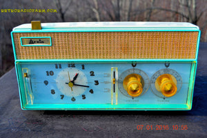 SOLD! - Dec 9, 2015 - BELLS AND WHISTLES Mint Green Retro Jetsons Vintage 1961 Arvin Model 51R56 AM Tube Clock Radio Amazing! - [product_type} - Arvin - Retro Radio Farm