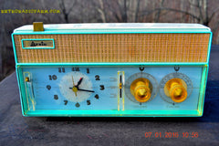 SOLD! - Dec 9, 2015 - BELLS AND WHISTLES Mint Green Retro Jetsons Vintage 1961 Arvin Model 51R56 AM Tube Clock Radio Amazing!