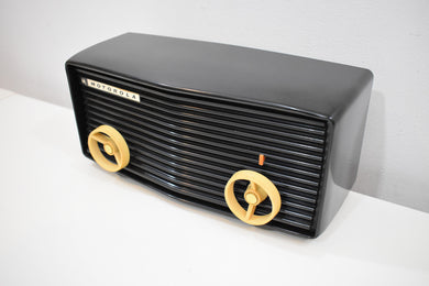 Black Mamba 1957 Motorola 57R Tube AM Antique Radio Real Gem Crack Free!
