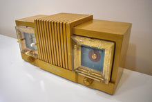 Load image into Gallery viewer, Hot Blonde Wood Mantle 1954 Firestone 4-A-128 Vacuum Tube AM Clock Radio She's a 10!