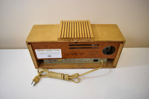 Hot Blonde Wood Mantle 1954 Firestone 4-A-128 Vacuum Tube AM Clock Radio She's a 10!