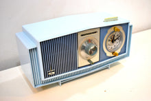Load image into Gallery viewer, Blue on Blue Mid-Century 1963 Motorola Model C19B25 Tube AM Clock Radio Rare Color Combo!