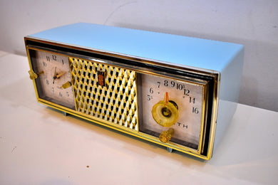 Diamond Blue and Gold Mid Century Vintage 1960 Zenith The Saxony Model C520B AM Vacuum Tube Clock Radio Opulent Looks Sounds Primo!