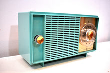 Load image into Gallery viewer, NOS Turquoise 1959 General Electric Model T129 AM Vintage Radio Mid Century Pristine Condition Original Box!