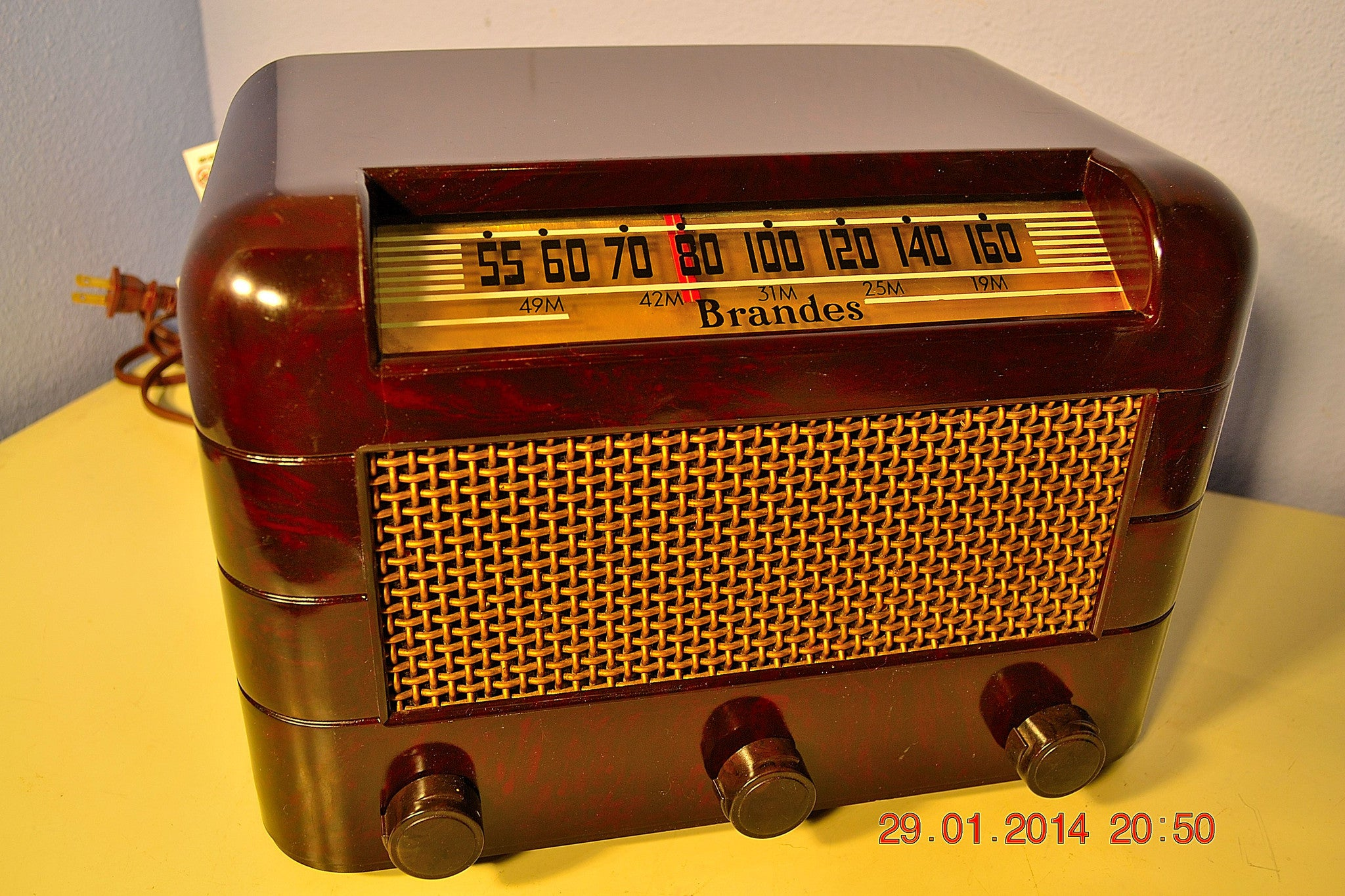 SOLD! - Oct 31, 2014 - BEAUTIFUL PRISTINE Rare Art Deco Retro 1946-48 BRANDES AM Tube Radio Works! Wow! , Vintage Radio - Brandes, Retro Radio Farm  - 1