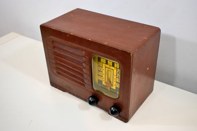 Leatherette Brown Bakelite 1942 Emerson Model 461 AM Vacuum Tube Radio Sounds Marvelous Hard To Find Condition!