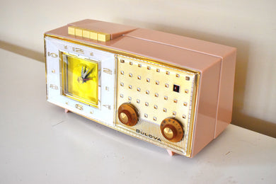 Park Avenue Pink 1959 Bulova Model 190 Vacuum Tube AM Clock Radio Mid Century Bling!