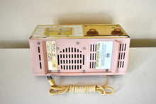 Load image into Gallery viewer, Park Avenue Pink 1959 Bulova Model 190 Vacuum Tube AM Clock Radio Mid Century Bling!