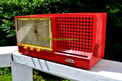 SOLD! - Dec 9, 2017 - CORAL Pink Mid Century Retro Vintage 1959 Arvin Model 957T AM Tube Clock Radio Works Great! - [product_type} - Arvin - Retro Radio Farm