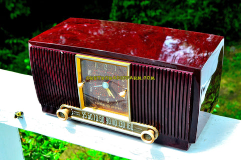 SOLD! - Aug 13, 2017 - BLUETOOTH MP3 READY Elegant Burgundy 1955 General Electric Model 551 Retro AM Clock Radio Works Great!
