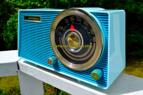SOLD! - Dec 19, 2017 - POSEIDON BLUE Mid Century Vintage 1963 Motorola Model A18B49 AM Tube Radio Excellent Condition!