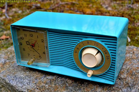 SOLD! - Apr 17, 2017 - BLUETOOTH MP3 READY - Turquoise Retro Jetsons 1959 Motorola C15JK25 Tube AM Clock Radio Works Great!