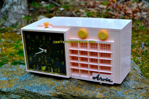 BLUETOOTH MP3 READY - POWDER Pink Mid Century Retro Jetsons 1957 Arvin 5561 Tube AM Clock Radio Works Great!