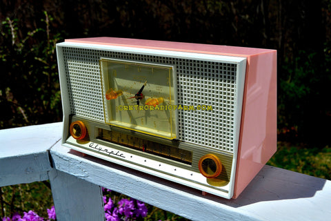 PASTEL PINK Mid Century Retro Jetsons 1956 Olympic Model 555 AM Clock Radio Excellent Plus Condition!