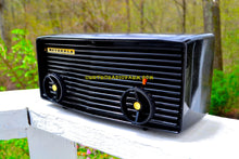 Load image into Gallery viewer, SOLD! - Nov 27, 2017 - BLUETOOTH MP3 READY - Panther Black Retro Jetsons 1959 Motorola Model 57R Tube AM Clock Radio Totally Restored! - [product_type} - Motorola - Retro Radio Farm