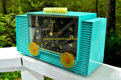 SOLD! - Dec 8, 2017 - TURQUOISE Mid-Century Retro Vintage 1959 Philco Model G755-124 AM Tube Clock Radio Totally Restored! - [product_type} - Philco - Retro Radio Farm