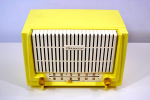 SOLD! - Oct. 25, 2018 - Lemon Yellow 1955 Granco Model 7TAF AM/FM Tube Antique Radio Extremely Rare and Sounds Great! - [product_type} - Granco - Retro Radio Farm