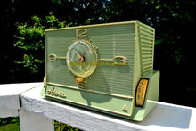 Load image into Gallery viewer, SOLD! - Aug 29, 2017 - GREEN OLIVE Mid Century Retro Jetsons 1959 Arvin 5591 Tube AM Clock Radio Unique Style! - [product_type} - Arvin - Retro Radio Farm