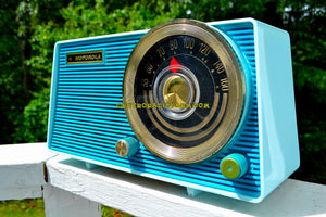 SOLD! - Dec 19, 2017 - POSEIDON BLUE Mid Century Vintage 1963 Motorola Model A18B49 AM Tube Radio Excellent Condition! - [product_type} - Motorola - Retro Radio Farm