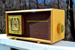 SOLD! - Apr 18, 2017 - BUTTERSCOTCH Retro Space Age 1955 Sylvania R5485-9211 Tube AM Clock Alarm Radio Almost Pristine!