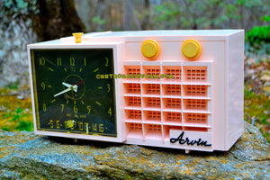 SOLD! - Mar 7, 2018 - BLUETOOTH MP3 READY - POWDER Pink Mid Century Retro Jetsons 1957 Arvin 5561 Tube AM Clock Radio Works Great! - [product_type} - Arvin - Retro Radio Farm