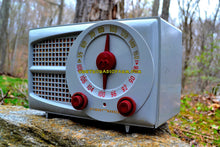 Load image into Gallery viewer, SOLD! - Aug 6. 2017 - AM FM GREY AND MAROON Mid Century Retro Vintage 1953 Stewart Warner Model 9166 Tube Radio Rare Functional and Sounds Dreamy! - [product_type} - Stewart Warner - Retro Radio Farm