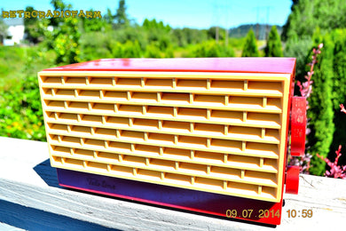 SOLD! - Dec 25, 2014 - CRIMSON RED Retro Vintage 1950's or 60's Teletone Unknown Model AM Tube Radio WORKS! - [product_type} - Teletone - Retro Radio Farm