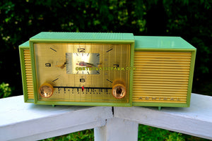 SOLD! - Oct 9, 2017 - MINT GREEN Mid Century Retro Vintage 1959 Admiral 298 Tube AM Clock Radio Sounds Great! - [product_type} - Admiral - Retro Radio Farm