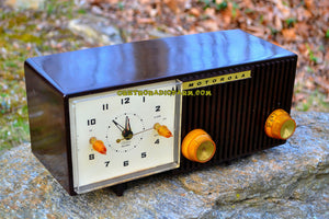 SOLD! - May 26, 2017 - BLUETOOTH MP3 READY - Chocolate Brown Retro Jetsons 1959 Motorola Model 5C12M Tube AM Clock Radio Totally Restored! - [product_type} - Motorola - Retro Radio Farm
