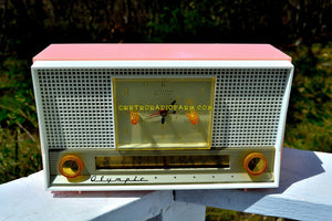 SOLD! - May 26, 2017 - PASTEL PINK Mid Century Retro Jetsons 1956 Olympic Model 555 AM Clock Radio Excellent Plus Condition! - [product_type} - Olympic - Retro Radio Farm