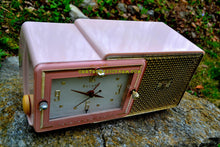 Load image into Gallery viewer, SOLD! - May 4, 2017 - FIFTH AVENUE PINK Mid Century Retro Jetsons 1957 Bulova Model 120 Tube AM Clock Radio Excellent Condition!