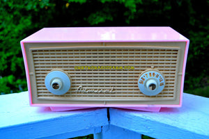 SOLD! - Sept 6, 2017 - BLUETOOTH MP3 READY - BUBBLE GUM Pink Vintage 1955 Admiral Model 244 AM Tube Radio Works Great! - [product_type} - Admiral - Retro Radio Farm