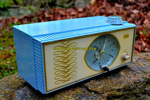 SOLD! - July 8, 2018 - WEDGEWOOD BLUE Retro Mid Century Vintage 1965 Arvin Model 53R05 AM Tube Clock Radio Works Great Looks Great! - [product_type} - Arvin - Retro Radio Farm