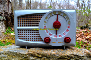 SOLD! - Aug 6. 2017 - AM FM GREY AND MAROON Mid Century Retro Vintage 1953 Stewart Warner Model 9166 Tube Radio Rare Functional and Sounds Dreamy! - [product_type} - Stewart Warner - Retro Radio Farm