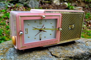 SOLD! - May 4, 2017 - FIFTH AVENUE PINK Mid Century Retro Jetsons 1957 Bulova Model 120 Tube AM Clock Radio Excellent Condition! - [product_type} - Bulova - Retro Radio Farm