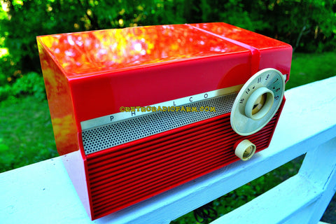SOLD! - Dec. 6, 2017 - FLAME RED Mid Century Jet Age Retro 1959 Philco Model E-812-124 Tube AM Radio Totally Awesome!!