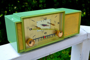 SOLD! - Oct 9, 2017 - MINT GREEN Mid Century Retro Vintage 1959 Admiral 298 Tube AM Clock Radio Sounds Great!