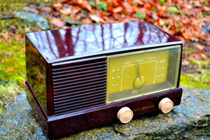 SOLD! - May 27, 2017 - BLUETOOTH MP3 READY - Burgundy Marbled 1950 General Electric Model 414 AM Tube Radio