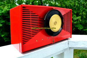 SOLD! - Sept 17, 2017 - MATADOR RED Mid Century Vintage 1955 Emerson Model 812B Tube AM Clock Radio Rare Color Sounds Great!